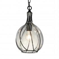 美式復古鐵架玻璃罩吊燈