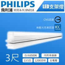 Philips飛利浦LED支架燈-3尺 13.5w 6500K白光-明亮BN018