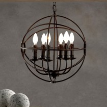 Loft鏤空圓球蠟燭工業風吊燈-客製品